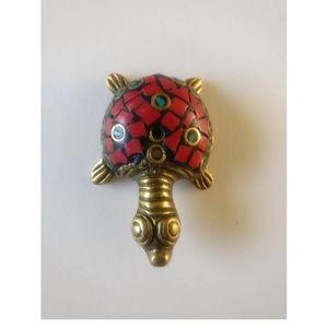 brass turtle figurine Accents - 🇨🇦 Vintage brass hand made turtle figurine